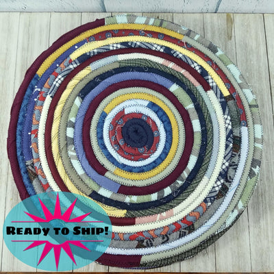 "R2S Handmade Table Mat Fabric Placemat 14"" Diameter Dark Bohemian Multicolors Ready to Ship"