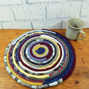 R2S Handmade Table Mat Fabric Placemat 14 Diameter Dark Bohemian Multicolors Ready To Ship