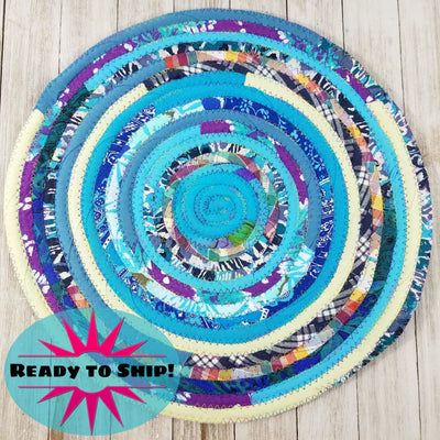"R2S Handmade Table Mat Fabric Placemat 14"" Diameter Multicolors Ready to Ship"