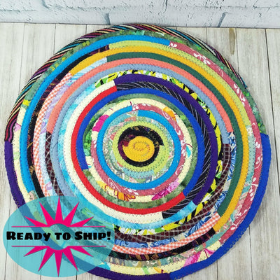 "R2S Handmade Table Mat Fabric Placemat 15.5"" Diameter Multicolors Ready to Ship"