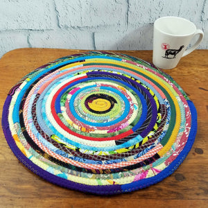 R2S Handmade Table Mat Fabric Placemat 15.5 Diameter Multicolors Ready To Ship