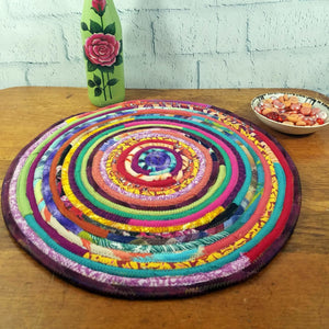 R2S Handmade Table Mat Fabric Placemat 16 Diameter Multicolors Ready To Ship