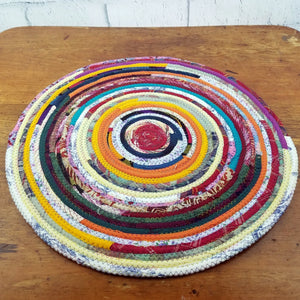 R2S Handmade Table Mat Fabric Placemat 17.5 Diameter Multicolors Ready To Ship Mat