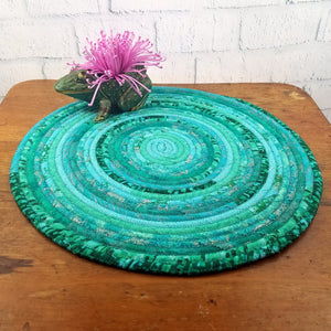 R2S Handmade Table Mat Fabric Placemat 21 Diameter Teal Turquoise Multicolors Ready To Ship Mat