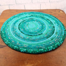 Load image into Gallery viewer, R2S Handmade Table Mat Fabric Placemat 21 Diameter Teal Turquoise Multicolors Ready To Ship Mat