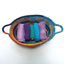 Load image into Gallery viewer, R2S Oval Fabric Basket With Handles Handmade Multicolor Sunrise Tones