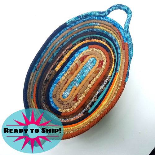 R2S Oval Fabric Basket With Handles Handmade Multicolor Sunrise Tones