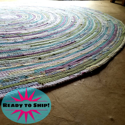 Round Rug Handmade 4 Foot Ready To Ship! Pastel Colors