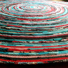 Load image into Gallery viewer, Round Rug Handmade 5 Foot Ready To Ship! Turquoise & Red Colors