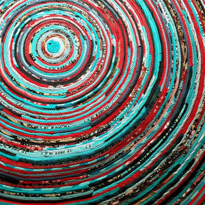 Round Rug Handmade 5 Foot Ready To Ship! Turquoise & Red Colors