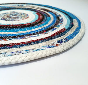Round Table Mat Placemat Blue & White Handmade