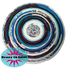 Load image into Gallery viewer, Round Table Mat Placemat Blue & White Handmade