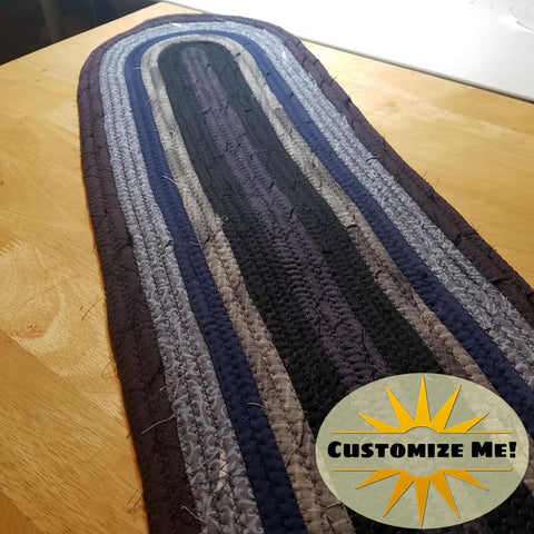 Stair Runners: Traditional Banded Braided Rug Pattern -You Choose Size Color Custom Handmade Treads