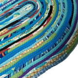 Turquoise Oval Floor Mat Handmade From Upcycled Materials