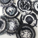 Black & White Fabric Coasters Set Of 4 Handmade Ooak Coiled Rope Hippie Unique Cloth Drink Boho