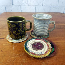 Load image into Gallery viewer, Earth Colors Fabric Coasters Set of 4, Handmade, Coiled Rope, Hippie, Cloth Drink Coasters - 43 Boho Street