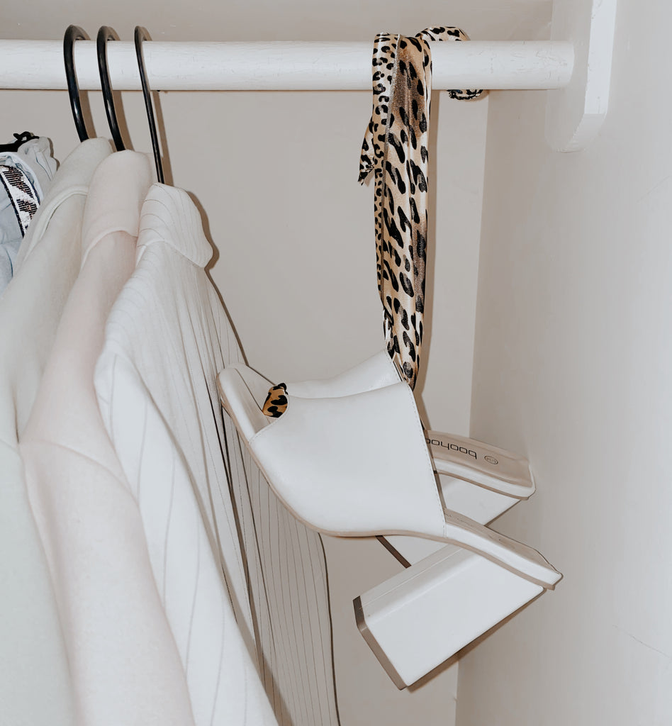 hanging your shoes in your wardrobe with a silk scarf