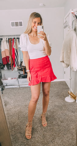 crushing hearts red ruffle skirt and amelia mod sleeve top