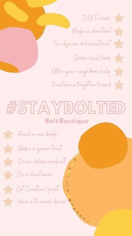 #StayBolted Quarantine To-Do List. Pink and Orange. Online boutique. Bolt boutique.