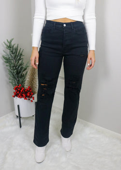 90s Baby Black Distressed Jeans Bottoms Cello