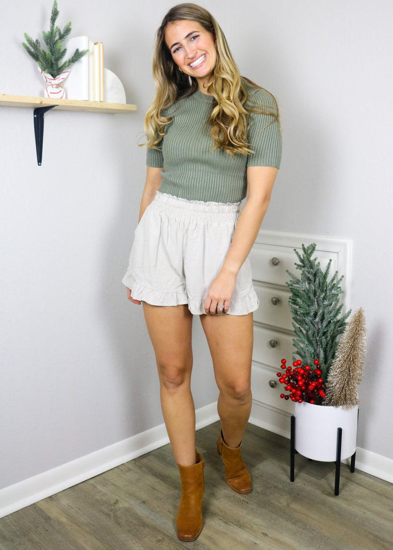 Alice Olive Cropped Knit Top Top ~