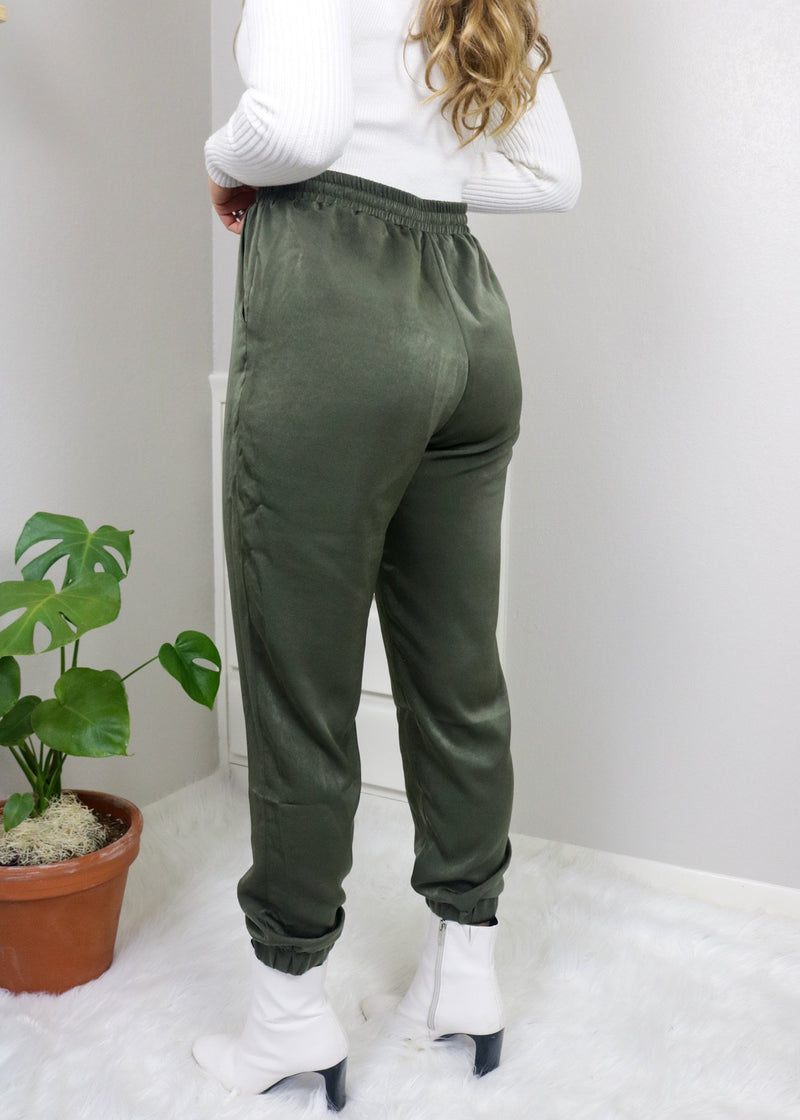 All Night Long Olive Satin Joggers Bottoms Le Lis