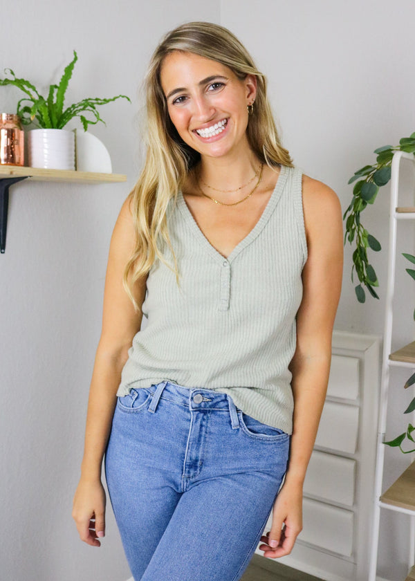 All Weekend Long Sage Tank Top ~