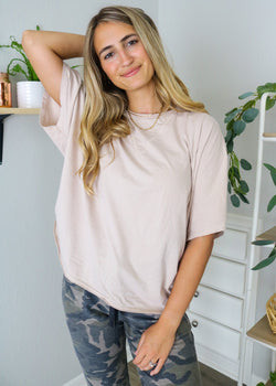 Almond Cotton Cut Off Tee Top ~