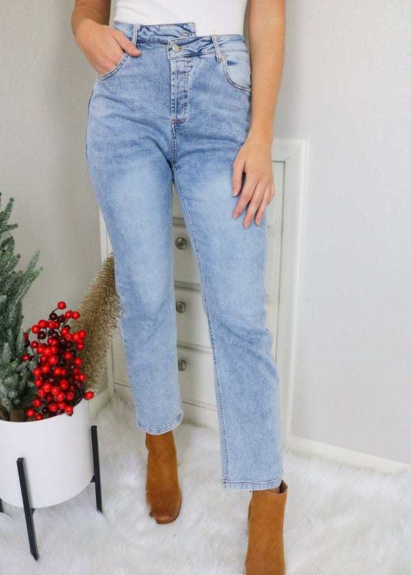 Annie Asymmetric Straight Jeans Bottoms Rehab Lab