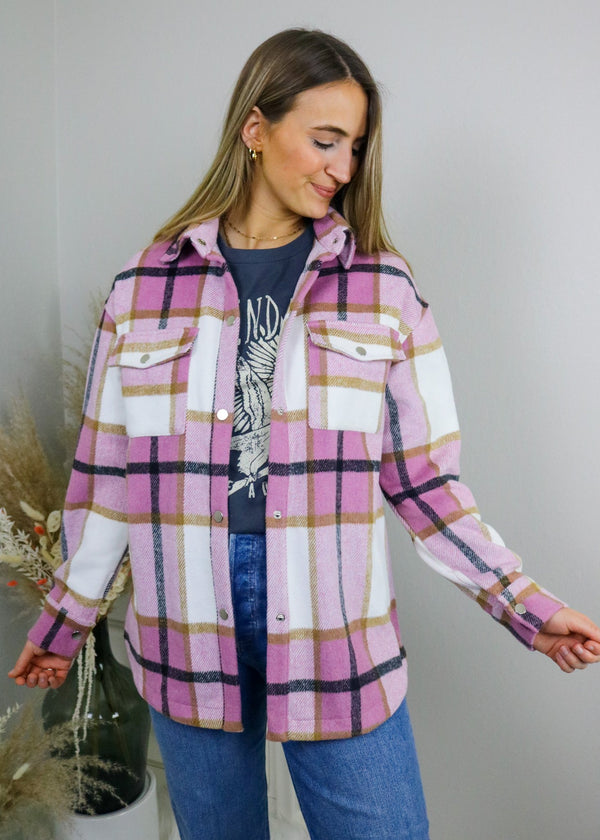 Ashley Pink Plaid Shacket Outerwear Bailey Rose