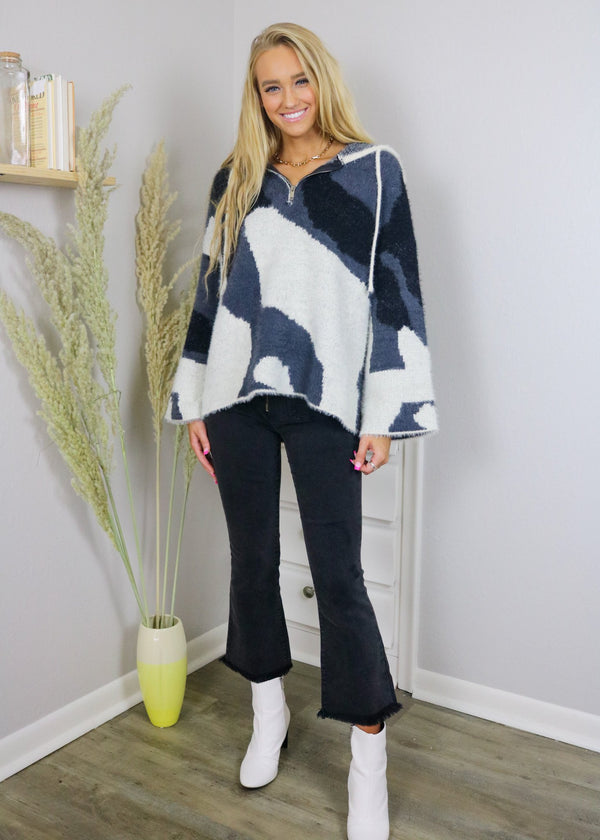 Aspen Cozy Abstract Quarter Zip Outerwear ~