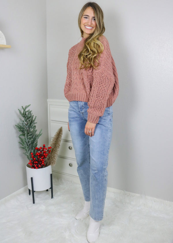 Banff Chenille Chunky Sweater - Berry Top pol