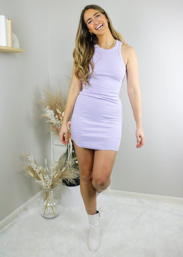 Basic Ribbed Bodycon Dress - Lavender Dress Emory Park