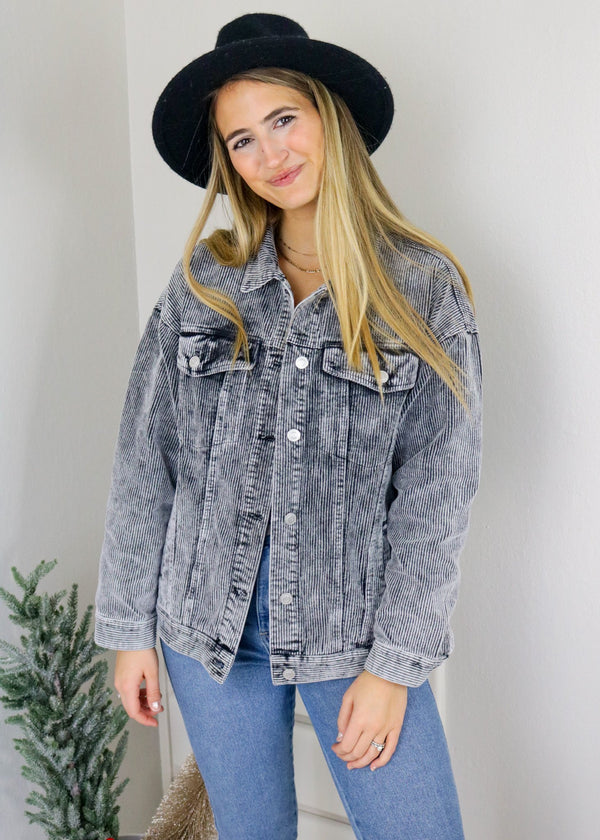 Black Acid Wash Corduroy Trucker Jacket Jacket Peach Love
