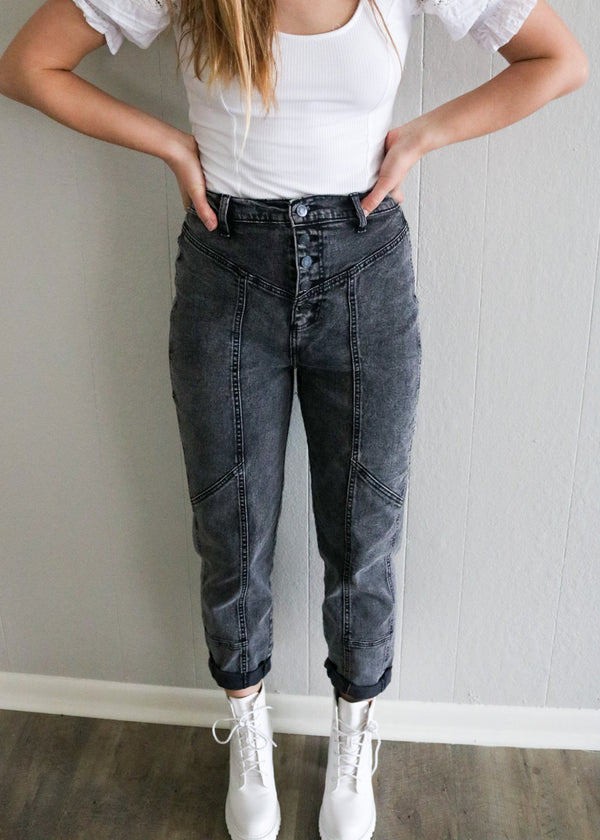 Black Denim Moto Mom Jeans Jeans ~