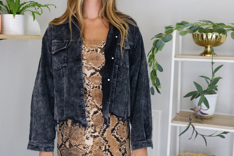 Black Distressed Corduroy Jacket Jacket ~