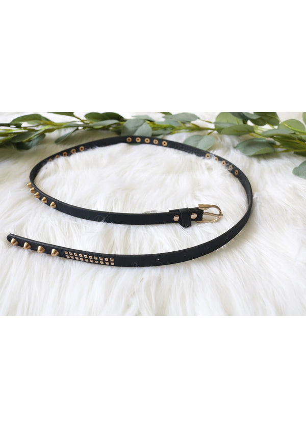 Black Leather Studded Skinny Belt Belt ~