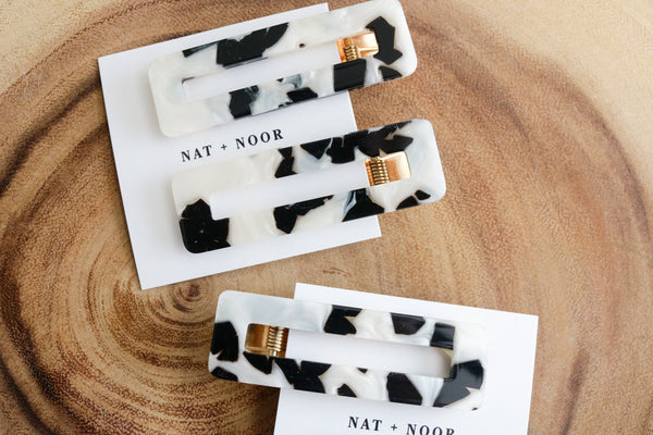 Black & White Tortoise Hair Clip Duo Accessory Nat + Noor