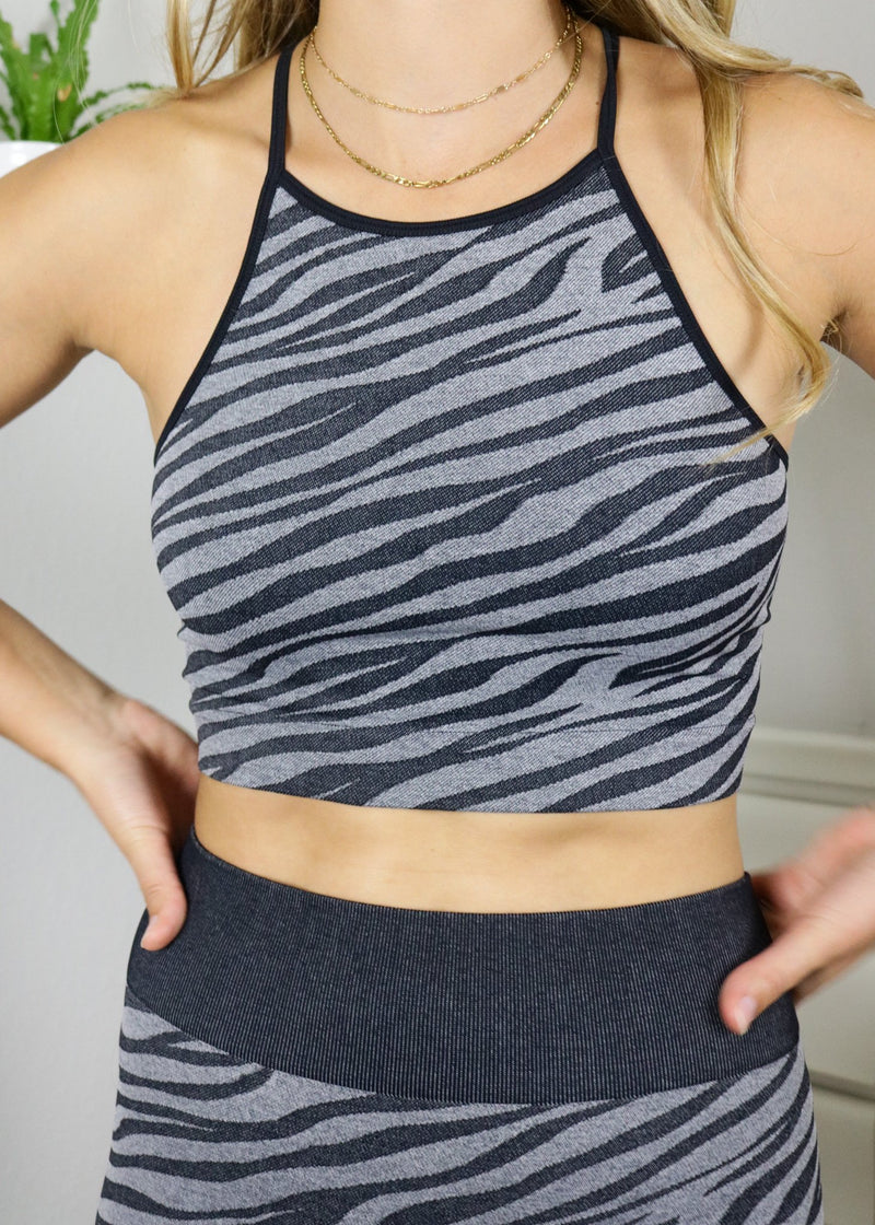 Black Zebra High Neck Cropped Top Top ~