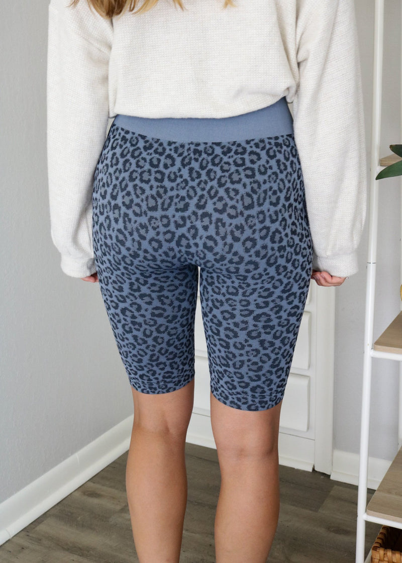 Blue Leopard Biker Shorts Bottoms ~