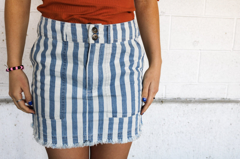 Blue Pinstripe Denim Skirt Skirt Jack by BB Dakota