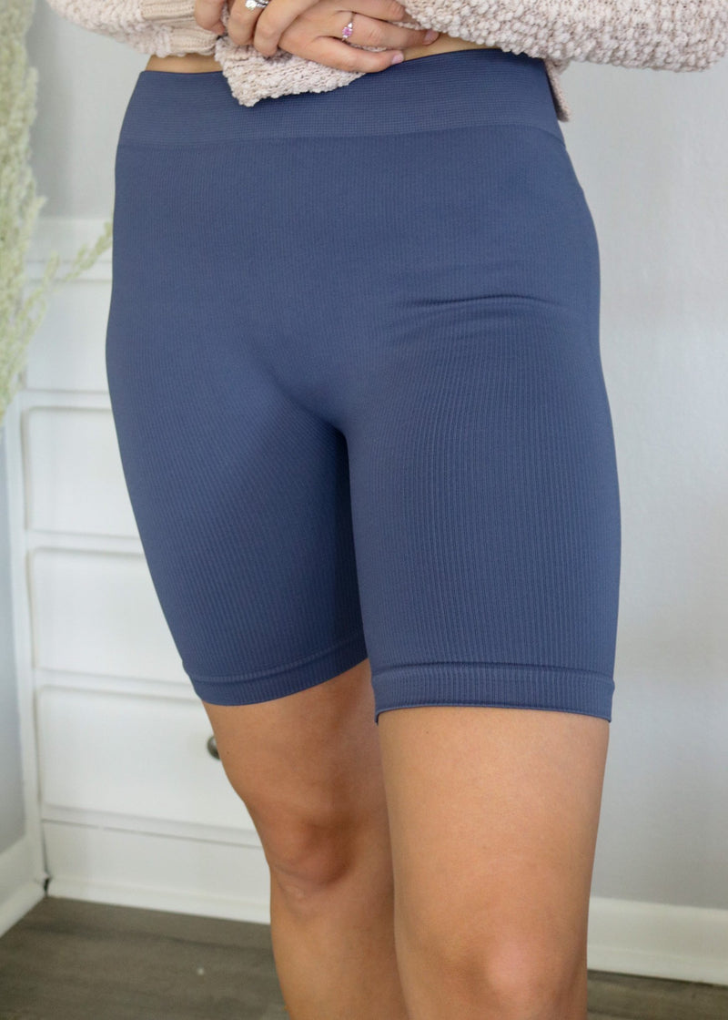 Blue Ribbed Biker Shorts Bottoms ~