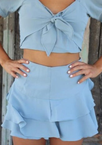 Blue Ruffle Skirt Skirt ~