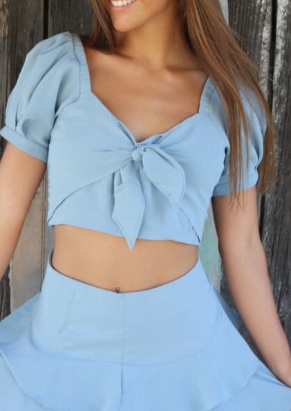 Blue Tie Top Tops ~
