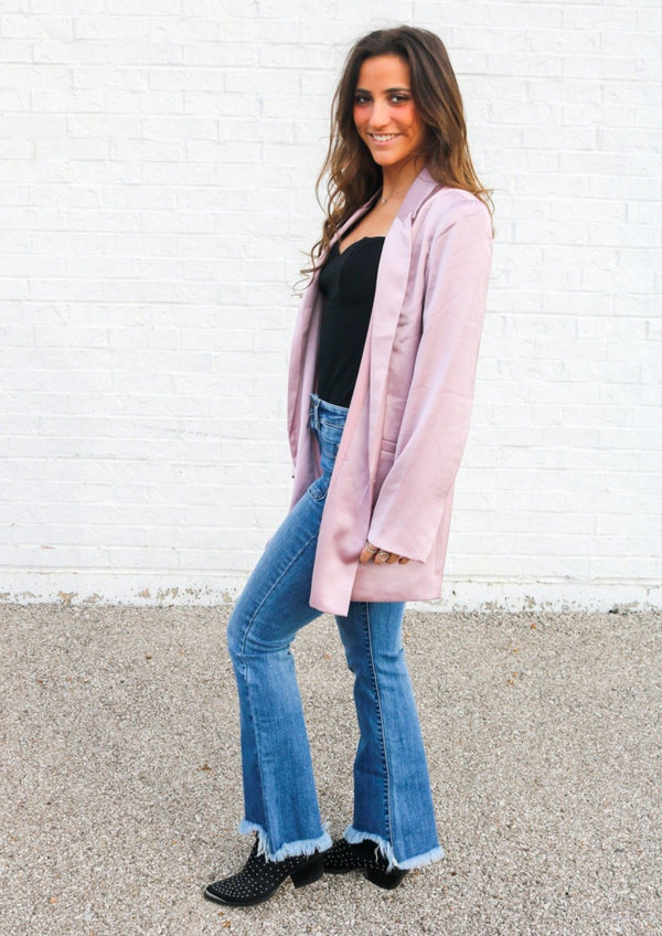 Blush Satin Blazer Jacket ~