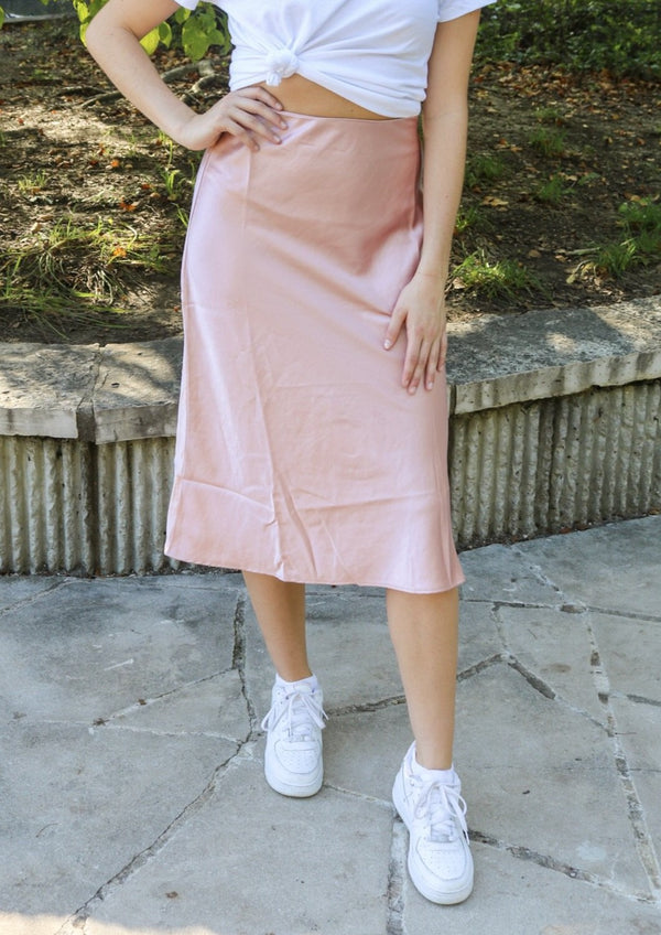 Blush Satin Midi Skirt Skirt ~