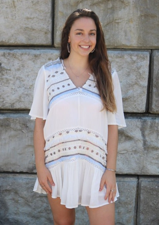 Boho Embroidered Dress Dress ~