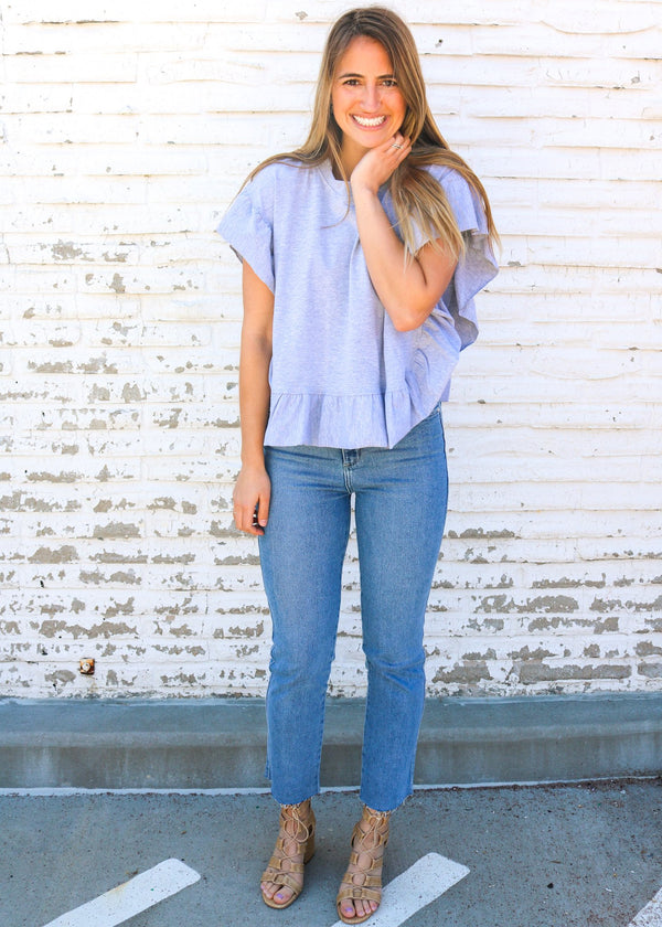 Bree Grey Ruffle Top Top No Less Than