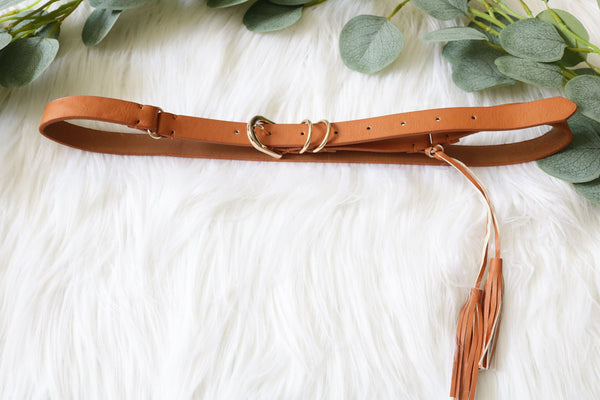 Brown Leather Tassel Belt Belt ~