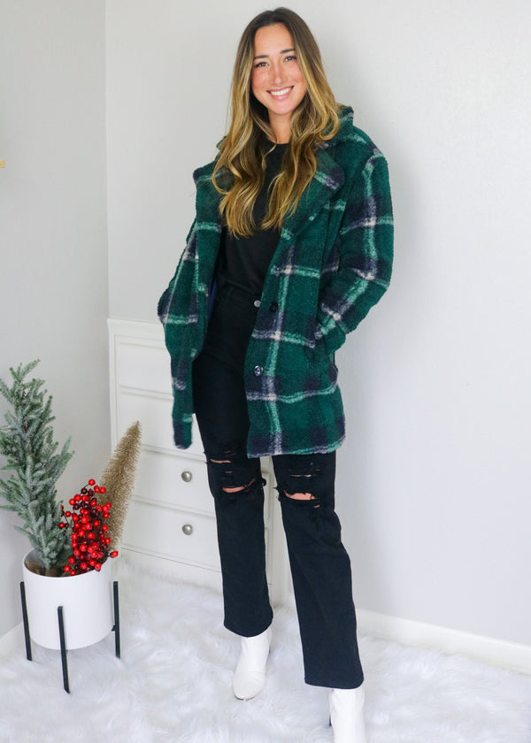 Brynn Plaid Teddy Coat Outerwear Love Tree